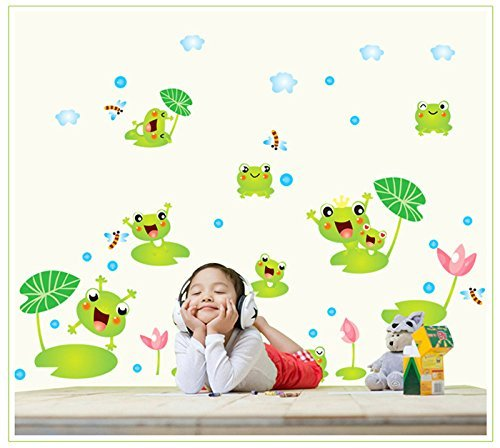 Copter shop Cute green frog wall sticker kindergarten kids bedroom bathroom wall decoration d Ecals children room (Diy Van Gogh Costume)