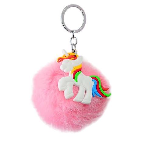 Llavero de unicornio con bolas esponjosas para el bolso de ...