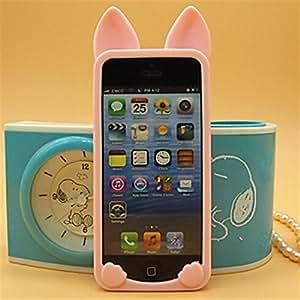 BlueKid Orejas de Gato lindo, silicona suave funda (iPhone 6S Plus iPhone 6S iPhone 6 iPhone 6 Plus iPhone 5C iPhone 5/5S iPhone 4/4S )(iPhone 5/5S,Rosa)