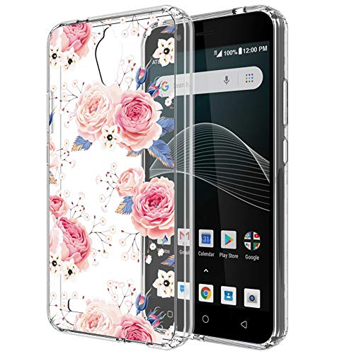 AT&T AXIA Case,ATT QS5509A case for Women Girls,PUSHIMEI Clear TPU + Hard PC Back with Floral Flower Pattern Phone Case Cover for AT&T AXIA(Cricket Vision)(Rose Flower) ()