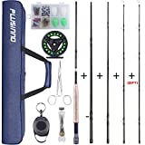 PLUSINNO Fly Fishing Rod and Reel Combo, 4 Piece Lightweight Ultra-Portable Graphite Fly Rod 5/6 Complete Starter Package with Carrier Bag