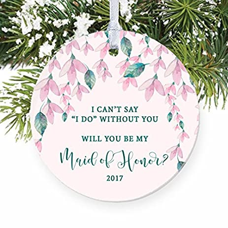 bridesmaid proposal christmas ornament 2017 pink floral