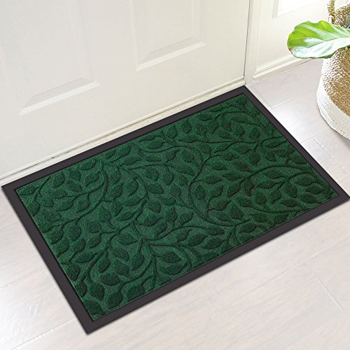 Amagabeli Outdoor Rubber Doormat for Front Door Heavy Duty Outside Shoes Scraper Floor Door Mat for Porch Garage High Traffic Non Slip Entrance Rug Low Profile Green Welcome Carpet Home Decor 18