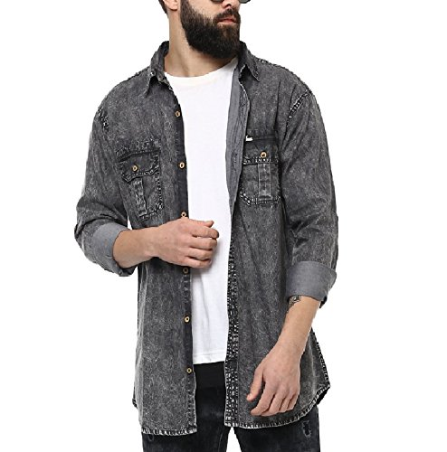 fa273648c2 Urbano Fashion Men s Charcoal Grey Denim Solid Casual Shirt (shirt -washden-cha-