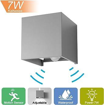 Lámpara de pared LED con detector de movimiento, 12 W, para interior y exterior, iluminación de