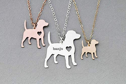 Beagle Dog Necklace - IBD - Personalize with Name or Date - Choose Chain Length - Pendant Size Options - 935 Sterling Silver 14K Rose Gold Filled - Ships in 1 Business Day