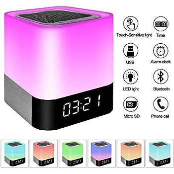Keynice Bluetooth Speaker Led Night Light Bedside Lamp