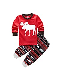 Bling Stars Boys Girls Kids Reindeer Christmas Pjs Sleepwear Cotton Pajamas Sets