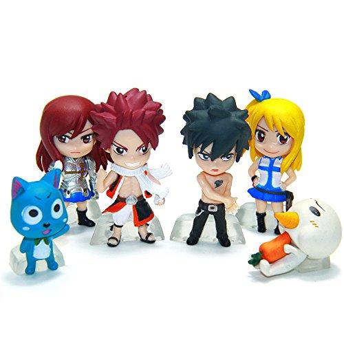 New Anime Fairy Tail Lucy Natsu Gray Elza Happy Miniature Action Figures Toys 6pcs/set