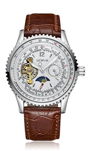SEWOR Leather Band Mechanical Wrist Watch - 3