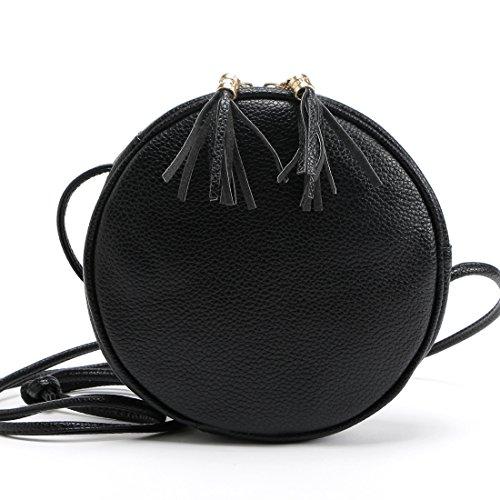 DukeTea Small Circular Crossbody Purse for Teen Girls, Mini Crossover Phone Shoulder Bag for Women (Black) by DukeTea