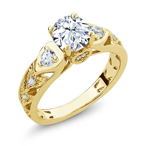 Gem Stone King 18K Yellow Gold Plated Silver White Created Sapphire Engagement Ring 2.46 Ctw (Size 5)