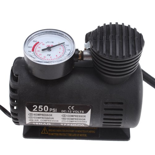 Portable Mini Car Tire Air Compressor 250PSI 12Volt with Pressure Checking Gauge