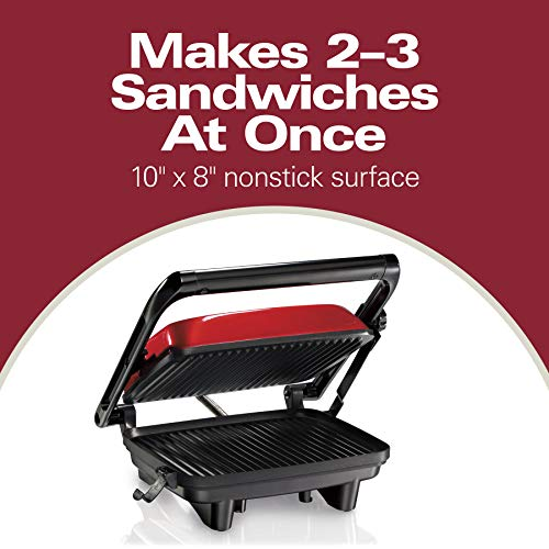 Hamilton Beach Electric Panini Press Grill with Locking Lid, Opens 180 Degrees for Any Sandwich Thickness, Nonstick 8″ X 10″ Grids, Red (25462Z)