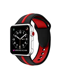 Apple Watch Band, Durable Soft Silicone Sport Strap Replacement Wristband Bracelet for Apple Watch Series 3 Series 2 Series 1 Sport Nike+ and Edition (Black+Red 42mm M/L)