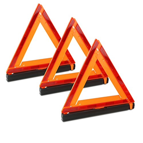 Triple Warning Triangle Emergency Warning Sign Reflector with Storage Case Set of 3 (Highway Emergency Set)