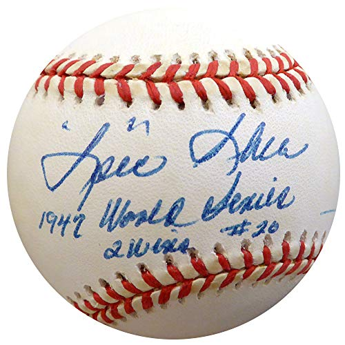 Spec Shea Autographed Official Al Baseball New York Yankees 1947 World Series - Beckett Authentic ()