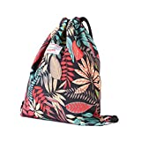 Cheap Drawstring Backpack Original Floral Leaf Lightweight Waterproof Tote Bags Sackpack for Shopping Yoga Gym Hiking Swimming Travel Beach