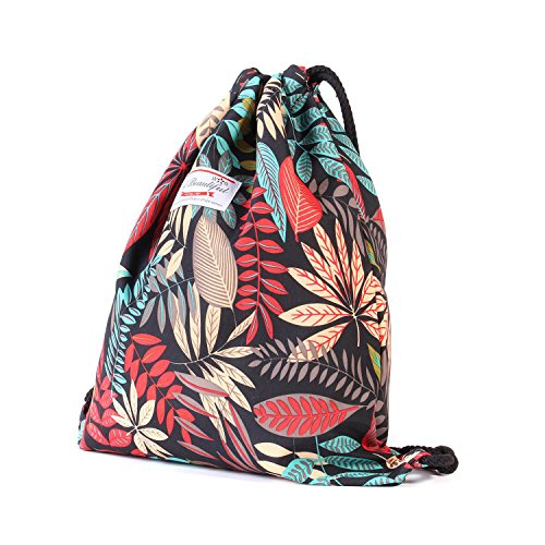 Beach Bag - Drawstring Backpack Original Floral Leaf Lightweight Waterproof Tote Bags Sackpack for Shopping Yoga Gym Hiking Swimming Travel Beach