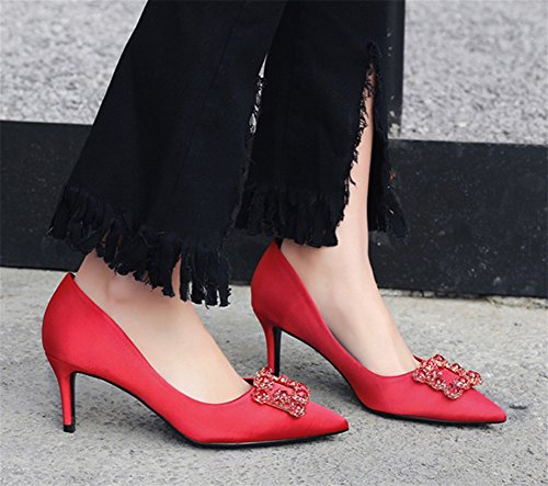 Medium Satin High Single punta 9cm Scarpe Punta Scarpe a Stiletto Professione sposa Strass Super red NVXIE 34 da 38 Heels Estate Donna Primavera con 6qPZAP