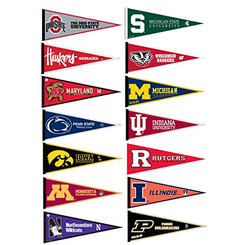 Big Ten Conference College Pennant Set (Big Ten Flags)