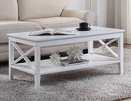 Linio-home Coffee Table with Storage Shelf for Living Room, Tea Table with Storage Shelf, Wood Look Accent Furniture, Easy Assembly, White