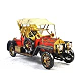 GL&G Retro manual Iron art red car model High-end gift Home metal Crafts bar Cafe Tabletop Scenes Ornaments Collectible Vehicles Keepsakes,3814.518.5cm