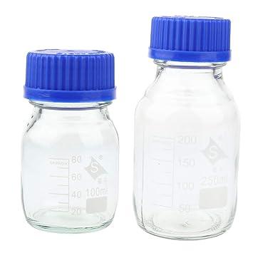 B Blesiya Botella de Vidrio Redondo con Tapón Frascos Instalación de Laboratorios Producto Laboral - Transparente
