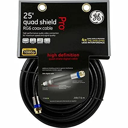 GE Pro Quad Shield HD 1080p RG6 Coax Cable, 25