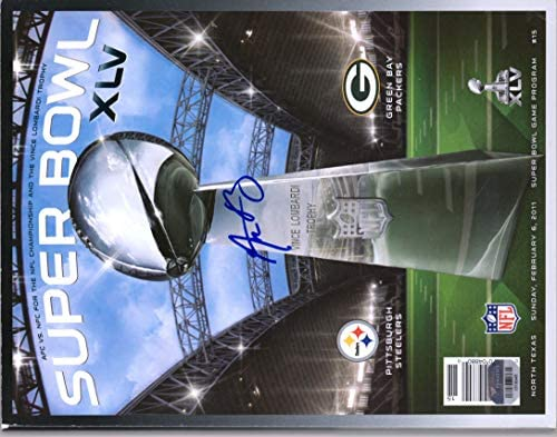 75efb471398 Aaron Rodgers Green Bay Packers Autographed Super Bowl XLV Program - JSA  Certified - Autographed NFL Magazines