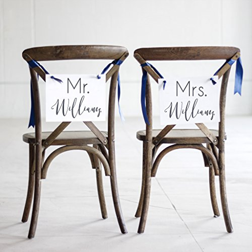 Custom Mr. & Mrs. Wedding Chair Signage Personalized with Bride & Groom's Names | Set of 2