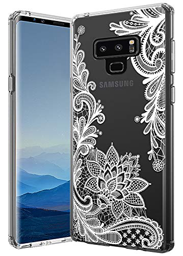Galaxy Note 9 Case, Note 9 case, Huness TPU Grip Bumper and Clear Flower Transparent Hard PC Backplate Hybrid Slim Phone Case Cover for Samsung Galaxy Note 9 Phone Case(6.4