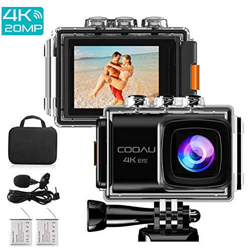 COOAU Action Camera Ultra HD 4K 20MP WiFi Sports Cam 170 Degree Wide-Angle Lens 98ft Underwater Camcorder, EIS Sony Sensor, Audio Record, Free Travel Bag Includes mounting Accessories 2Pcs Battery by COOAU