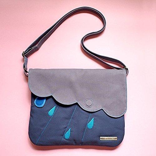 Body Cloud Cross - Rain Clouds Crossbody Sling Bag (Grey DarkBlue)