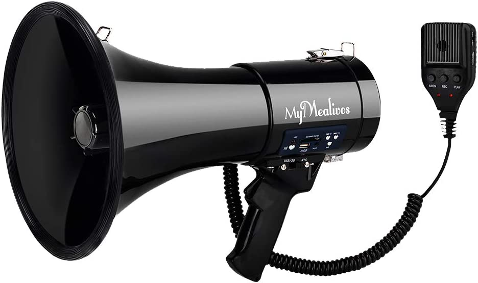 MyMealivos Megaphone with Siren Bullhorn 50 Watt - Bullhorn Speaker with Detachable Microphone, Portable Lightweight Strap & 3.5mm Aux Input - Professional Outdoor Voice for Police & Cheerleading