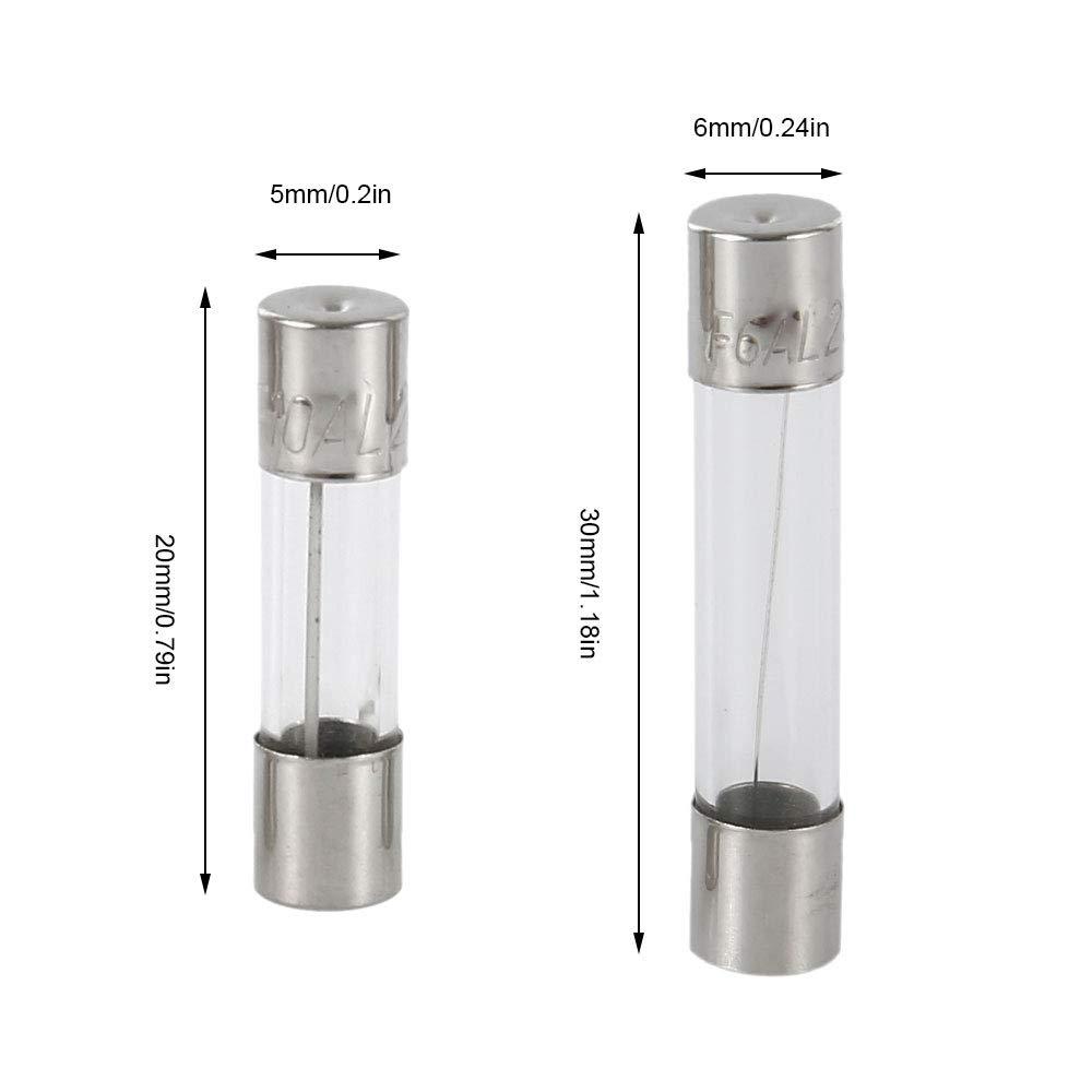 1A 2A 3A 5A 6A 7A 8A 10A 15A 20A Professional Quick Blow Car Glass Tube Fuse Fast Blow Fuses Assorted Kit 5 Values 250 Pcs 6x30mm/&5x20MM Glass Fuse Tube Set