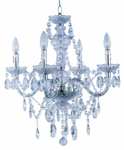 Cheap Park Madison Lighting PMC-6604-CL 4-Light Clear Acrylic Chandelier/Ceiling Fixture with Acrylic Prisms and Chrome Accents, 21-3/4-Inch x 23-Inch