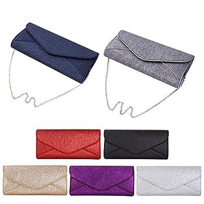 Premium Large Metallic Glitter Envelope Flap Clutch Evening Bag Handbag