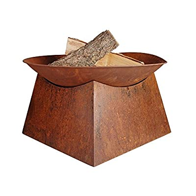 """Esschert Design Rust Fire Bowl - Rusted Steel Fire Bowl with Base 22"""" x 22"""" x 13"""" Rustic Aged Metal Finish Fire Bowl on Solid Square Base Steel Fire Bowl and Base with Rust Finish - patio, outdoor-decor, fire-pits-outdoor-fireplaces - 51y4Oc8R6cL. SS400  -"""