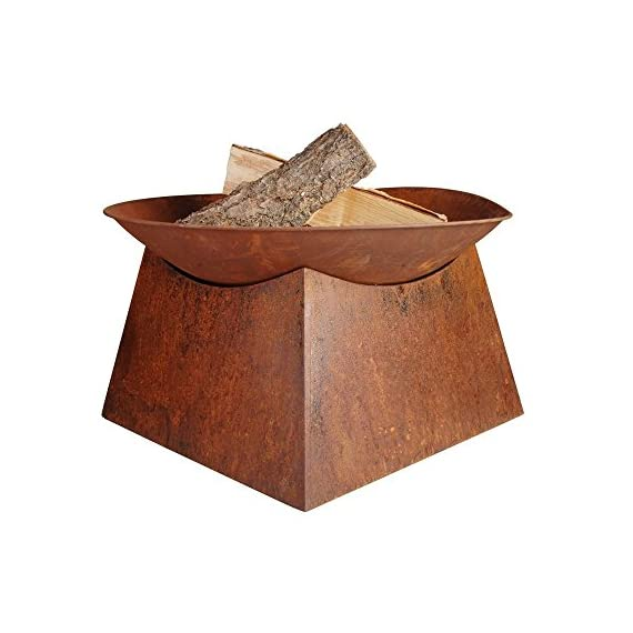 "Esschert Design Rust Fire Bowl - Rusted Steel Fire Bowl with Base 22"" x 22"" x 13"" Rustic Aged Metal Finish Fire Bowl on Solid Square Base Steel Fire Bowl and Base with Rust Finish - patio, outdoor-decor, fire-pits-outdoor-fireplaces - 51y4Oc8R6cL. SS570  -"