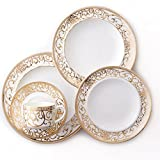 Cheap CRU by Darbie Angell Athena 24Kt 5 Piece Place Setting, Gold/White