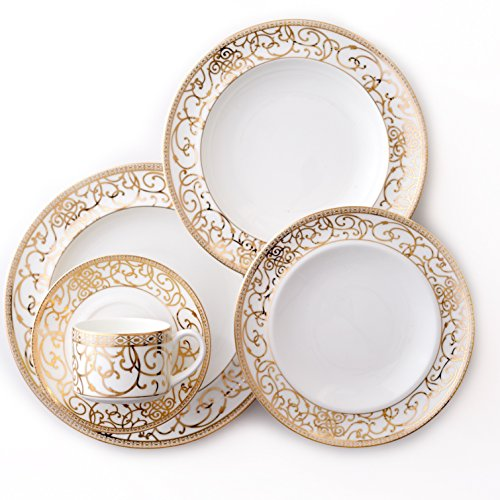 CRU by Darbie Angell Athena 24Kt 5 Piece Place Setting, Gold/White (Gold White Dish Set And)