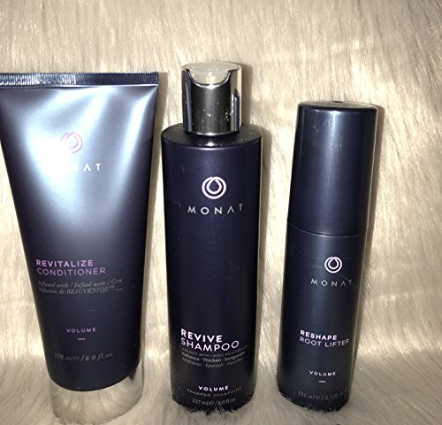 - Monat Volume System - Revive Volumizing Shampoo, Revitalize Conditioner and Reshape Root Lifter Bundle with Free Linen Bag