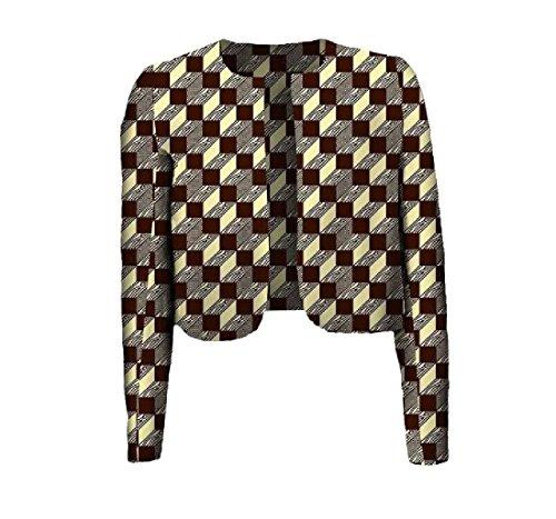 Vska Women's Africa Printing Batik Coat Crop Top Simple Cardigan 3 XS by Vska