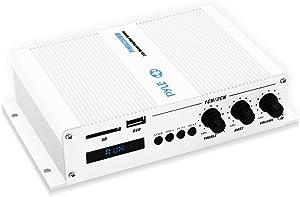 Pyle Home Marine Car Amplifier - 2-Channel Bridgeable Compact 200 Watt RMS 4 OHM Full Range Monoblock Stereo & Waterproof - Wireless Bluetooth Receiver Audio Speaker w/ LCD Digital Screen (PFMRA350BW)