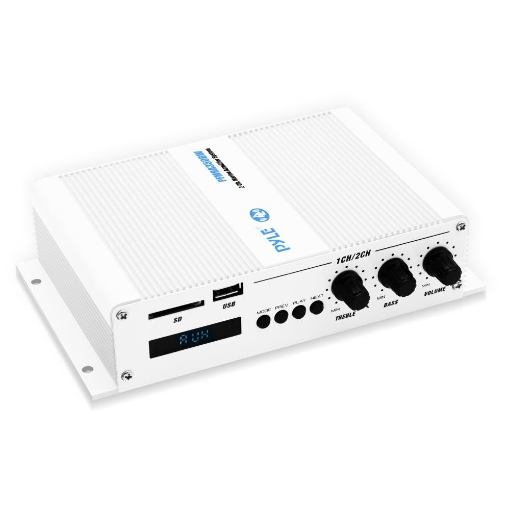 Pyle Home Marine Car Amplifier - 2-Channel Bridgeable Compact 200 Watt RMS 4 OHM Full Range Monoblock Stereo & Waterproof - Wireless Bluetooth Receiver Audio Speaker w/LCD Digital Screen (PFMRA350BW)