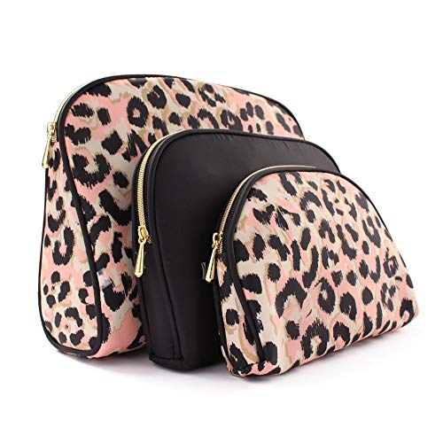 Once Upon A Rose Cosmetic Bag 3 Piece Set, Makeup Organizer, Toiletry Pouch, for Brushes, Pencil Case, Accessories, Travel, Girls, Gift Idea (Black & Leopard)