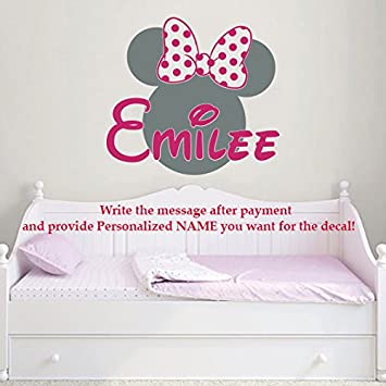 Minnie mouse name wall decal bow head ears vinyl decals sticker custom decals personalized baby girl