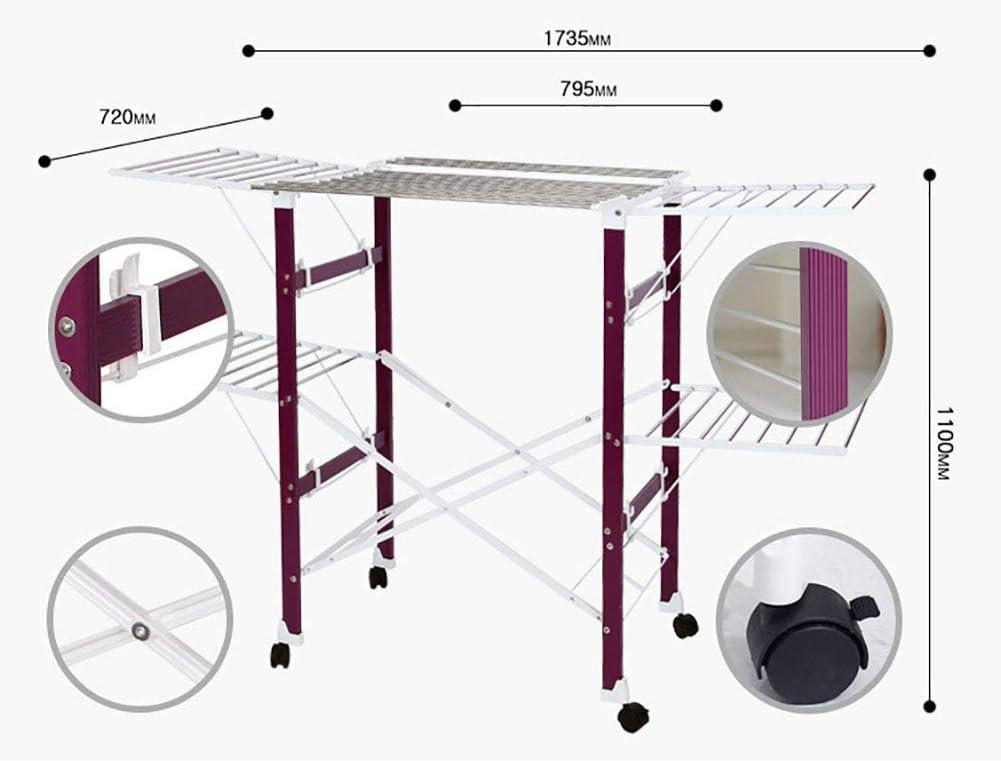 JKLKL Faltender Speicheraufh/änger des Innenlandungsfl/ügels Ausgangsbalkon Beweglicher Multifunktionstrockner,Purple