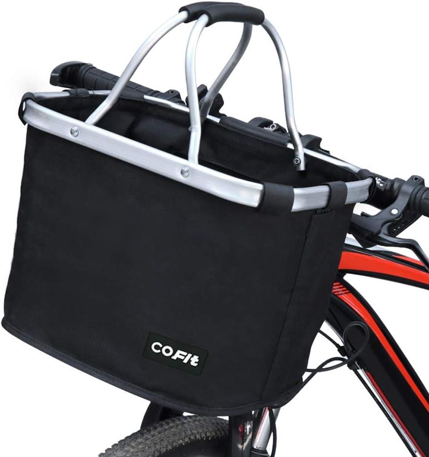 COFIT折りたたみ式自転車カゴ グレー、ペットボトル用多目的自転車ハンドルバスケット、食料品ショッピング、ブリーフケース通勤、屋外キャンプ 余分な3つのポーチと1つのカバー付き